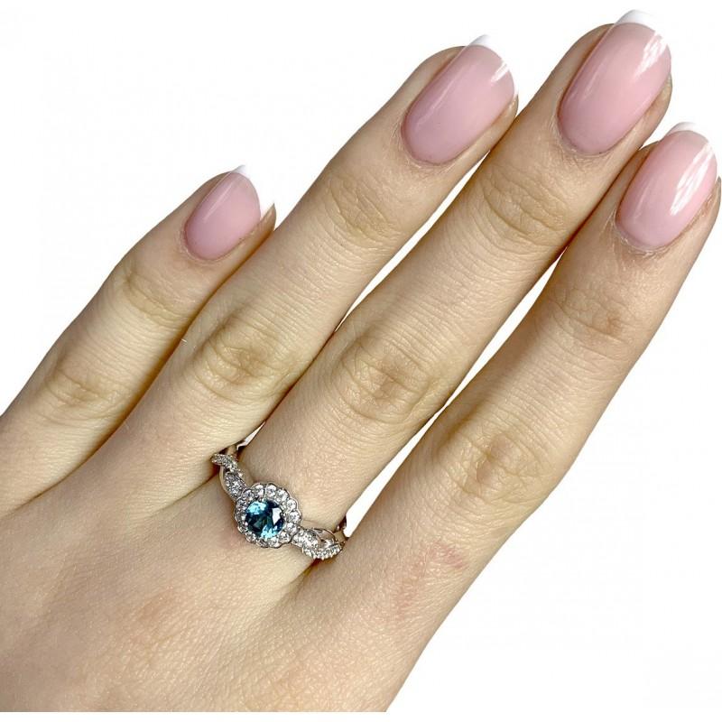 Серебряное кольцо SilverBreeze с натуральным топазом Лондон Блю (1949191) 17.5 размер