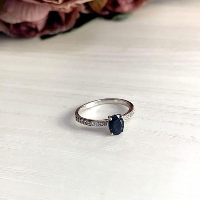 Серебряное кольцо SilverBreeze с натуральным сапфиром (1951996) 17.5 размер