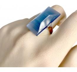 Серебряное кольцо SilverBreeze с кошачим глазом (1955536) 18 размер