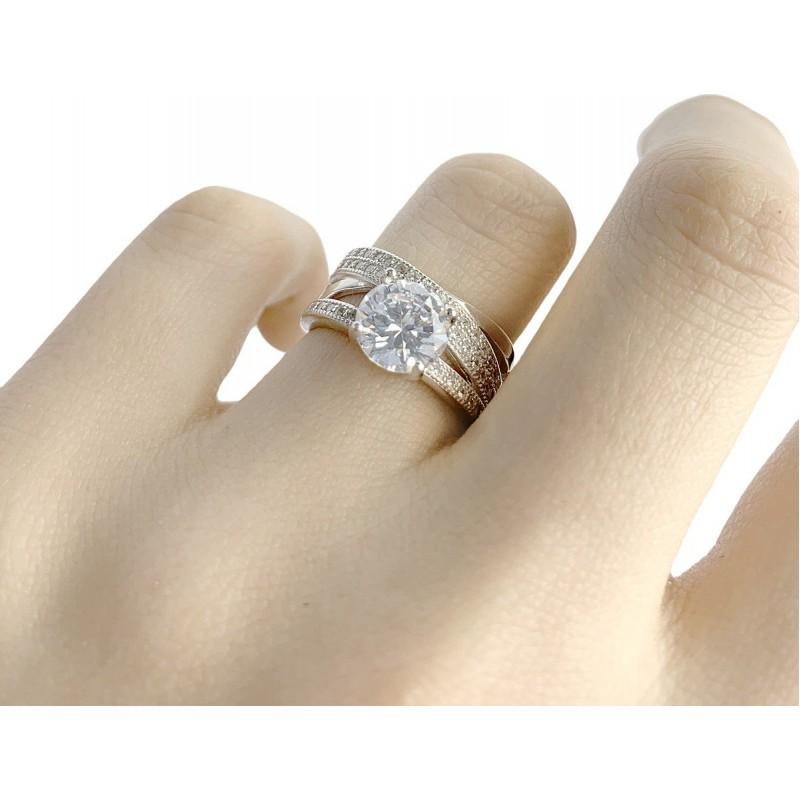 Серебряное кольцо SilverBreeze с фианитами (1955796) 18 размер