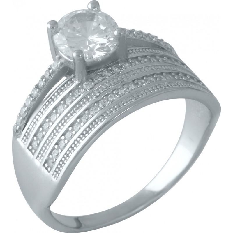 Серебряное кольцо SilverBreeze с фианитами (1955840) 18 размер
