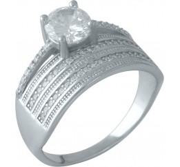 Серебряное кольцо SilverBreeze с фианитами (1955840) 16 размер