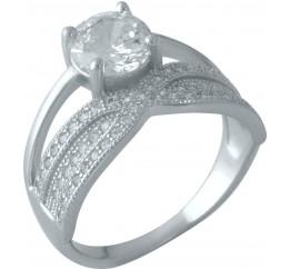 Серебряное кольцо SilverBreeze с фианитами (1955857) 16 размер