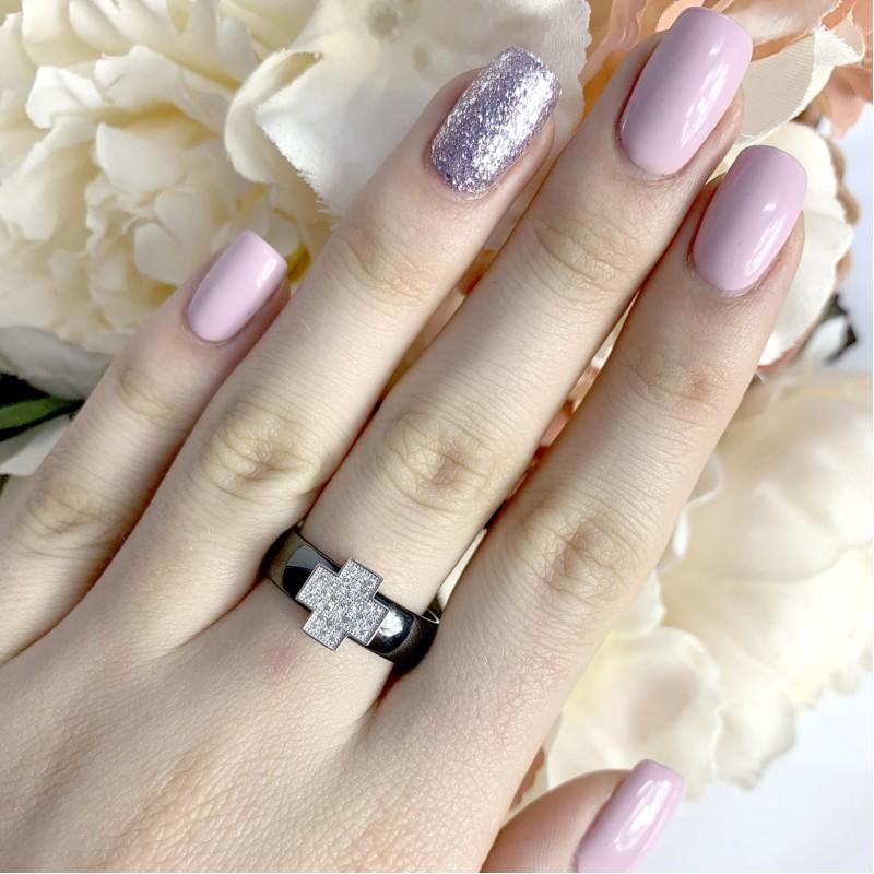 Серебряное кольцо SilverBreeze с керамикой (1577219) 18.5 размер