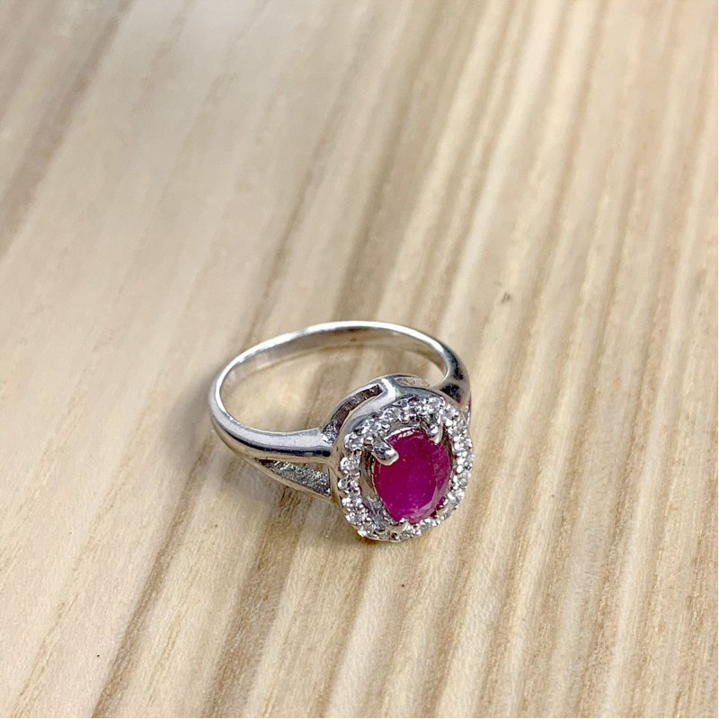 Серебряное кольцо SilverBreeze с натуральным рубином (1728277) 16 размер