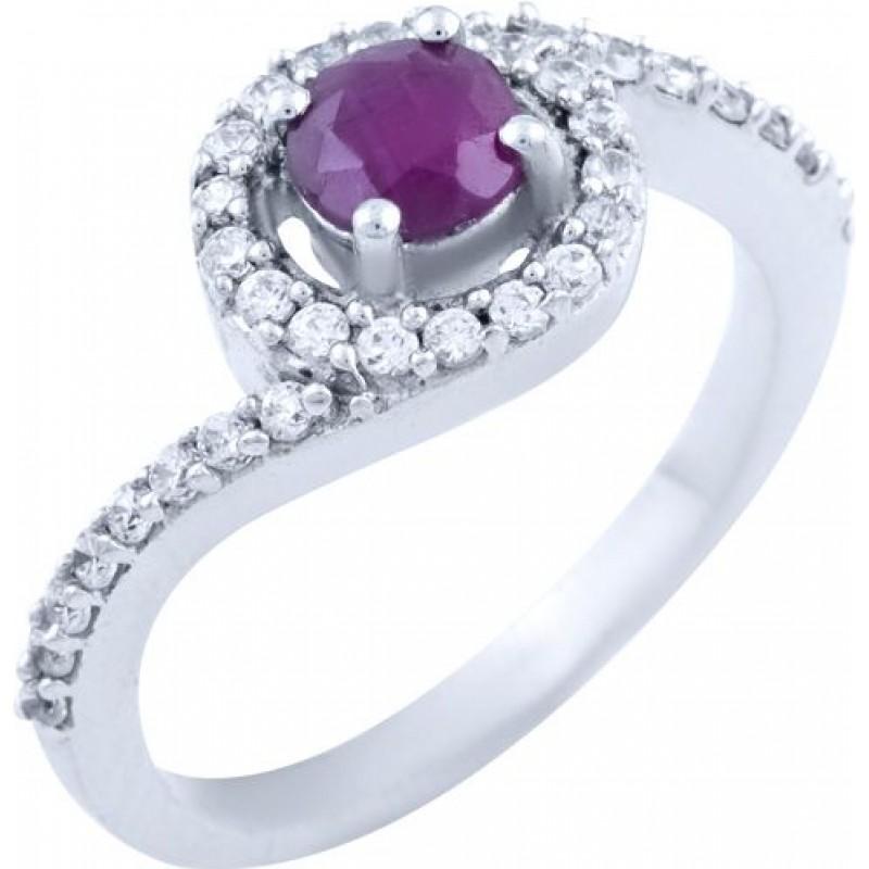 Серебряное кольцо SilverBreeze с натуральным рубином (1728284) 17 размер