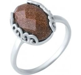 Серебряное кольцо SilverBreeze с натуральным авантюрином (1922248) 17.5 размер