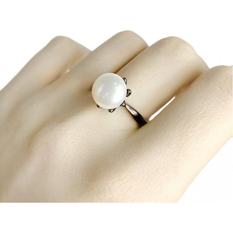 Серебряное кольцо SilverBreeze с натуральным жемчугом (1956984) 17.5 размер
