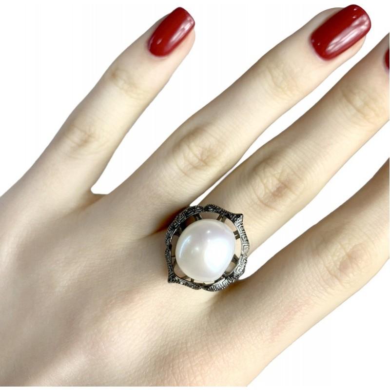 Серебряное кольцо SilverBreeze с натуральным жемчугом (1956991) 18.5 размер