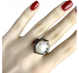 Серебряное кольцо SilverBreeze с натуральным жемчугом (1956991) 17.5 размер