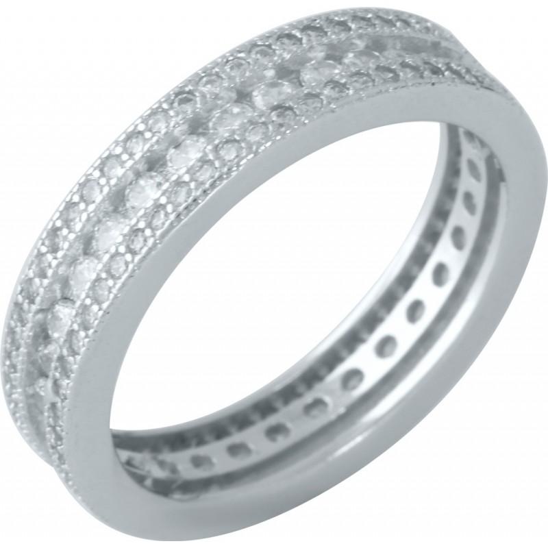 Серебряное кольцо SilverBreeze с фианитами (1957325) 18 размер
