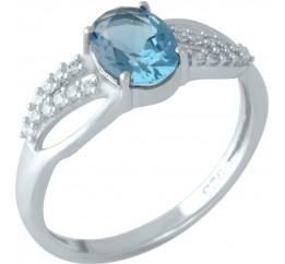 Серебряное кольцо SilverBreeze с натуральным топазом Лондон Блю (1957370) 17 размер