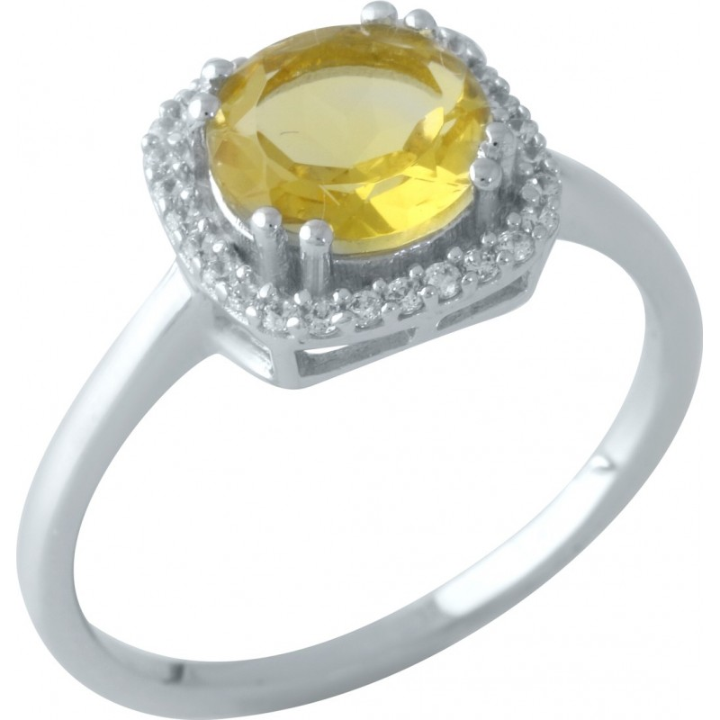 Серебряное кольцо SilverBreeze с цитрином nano (1961056) 18.5 размер