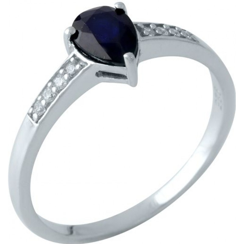 Серебряное кольцо SilverBreeze с натуральным сапфиром (1961674) 18 размер