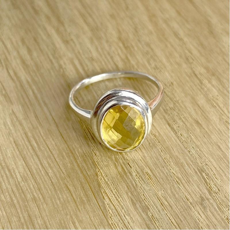 Серебряное кольцо SilverBreeze с цитрином nano (1962121) 17.5 размер
