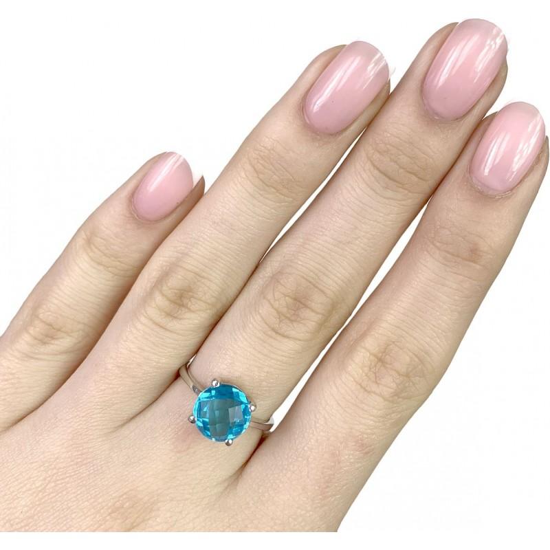 Серебряное кольцо SilverBreeze с аквамарином nano (1891360) 18 размер