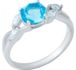 Серебряное кольцо SilverBreeze с аквамарином nano (1950029) 17.5 размер