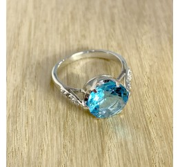 Серебряное кольцо SilverBreeze с аквамарином nano (1965344) 17.5 размер