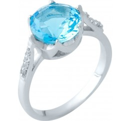 Серебряное кольцо SilverBreeze с аквамарином nano (1965344) 18 размер