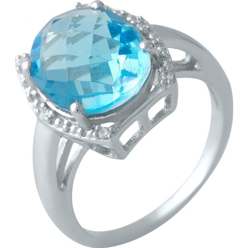 Серебряное кольцо SilverBreeze с аквамарином nano (1994566) 18 размер
