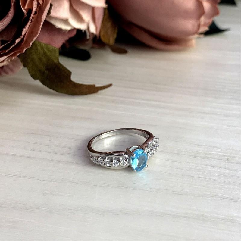 Серебряное кольцо SilverBreeze с аквамарином nano (1994702) 17 размер