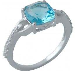 Серебряное кольцо SilverBreeze с аквамарином nano (2012542) 18 размер