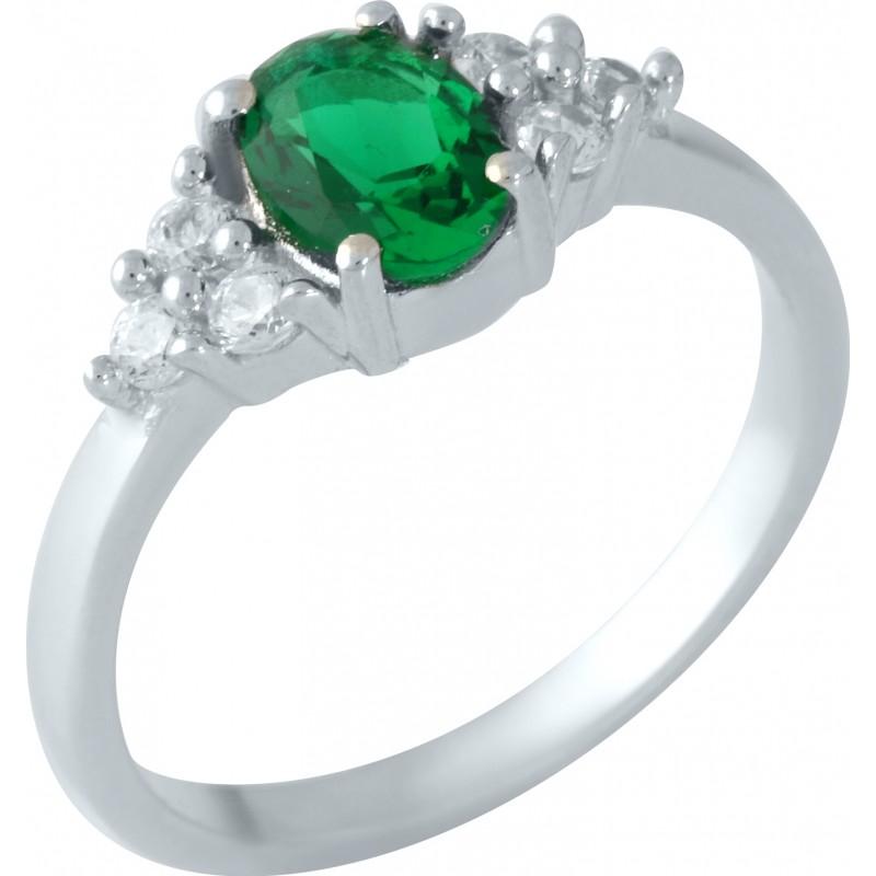 Серебряное кольцо SilverBreeze с изумрудом nano (1957554) 16.5 размер