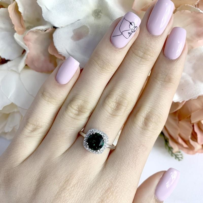 Серебряное кольцо SilverBreeze с изумрудом nano (1966365) 18 размер