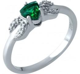 Серебряное кольцо SilverBreeze с изумрудом nano (1968901) 17.5 размер