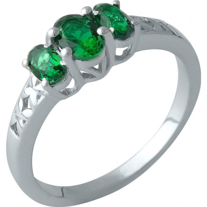 Серебряное кольцо SilverBreeze с изумрудом nano (2001119) 18.5 размер