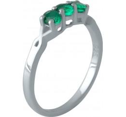 Серебряное кольцо SilverBreeze с изумрудом nano (2012795) 17.5 размер