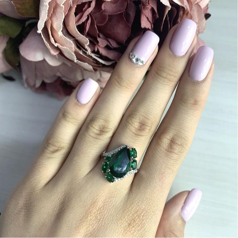 Серебряное кольцо SilverBreeze с изумрудом nano (2021070) 17.5 размер