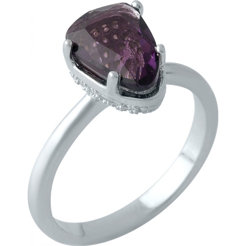 Серебряное кольцо SilverBreeze с искусственным аметистом nano (1975756) 18 размер