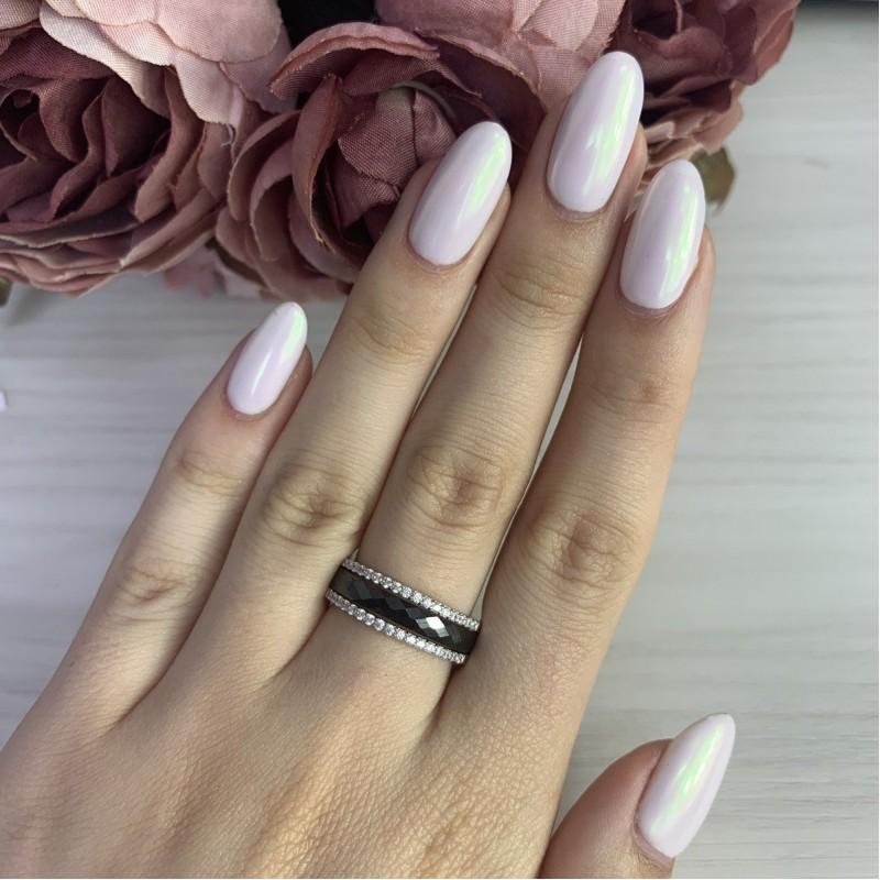 Серебряное кольцо SilverBreeze с керамикой (1214503) 18.5 размер