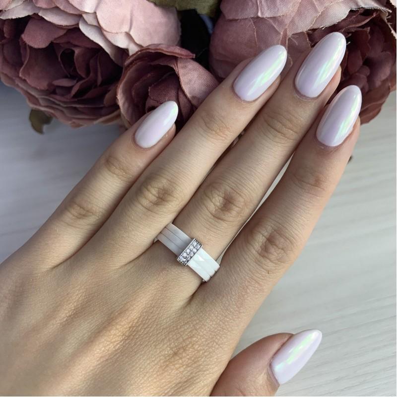 Серебряное кольцо SilverBreeze с керамикой (1886175) 19 размер