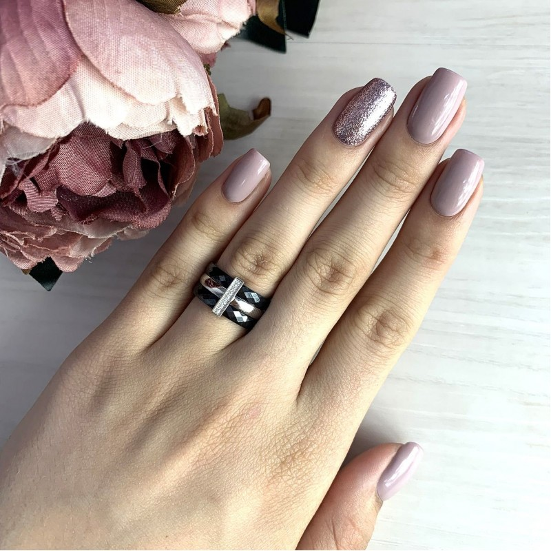 Серебряное кольцо SilverBreeze с керамикой (1903919) 17 размер