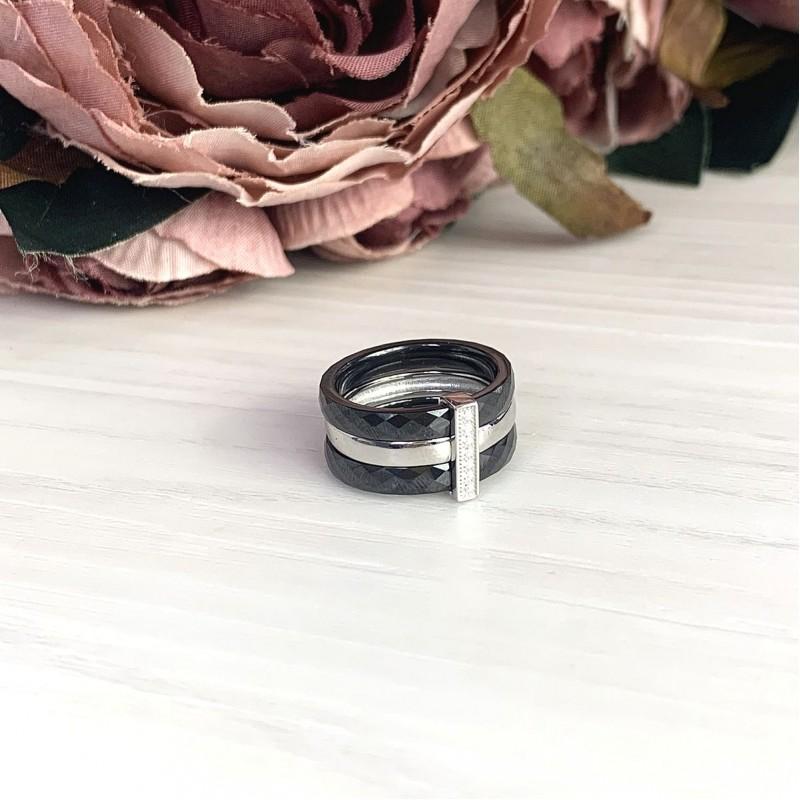 Серебряное кольцо SilverBreeze с керамикой (1903919) 18.5 размер