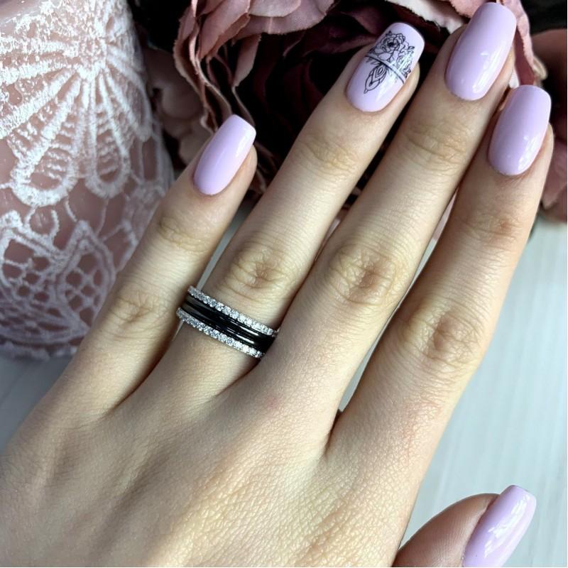 Серебряное кольцо SilverBreeze с керамикой (1998076) 18 размер
