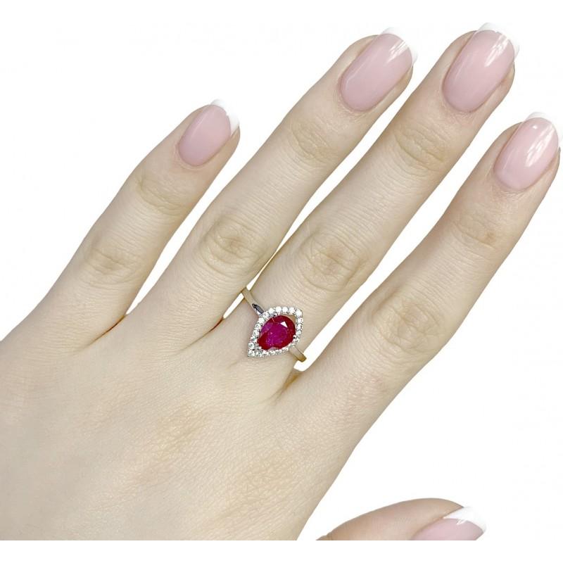 Серебряное кольцо SilverBreeze с натуральным рубином (1968086) 17.5 размер