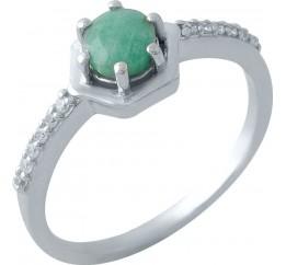 Серебряное кольцо SilverBreeze с натуральным изумрудом (1971925) 17 размер