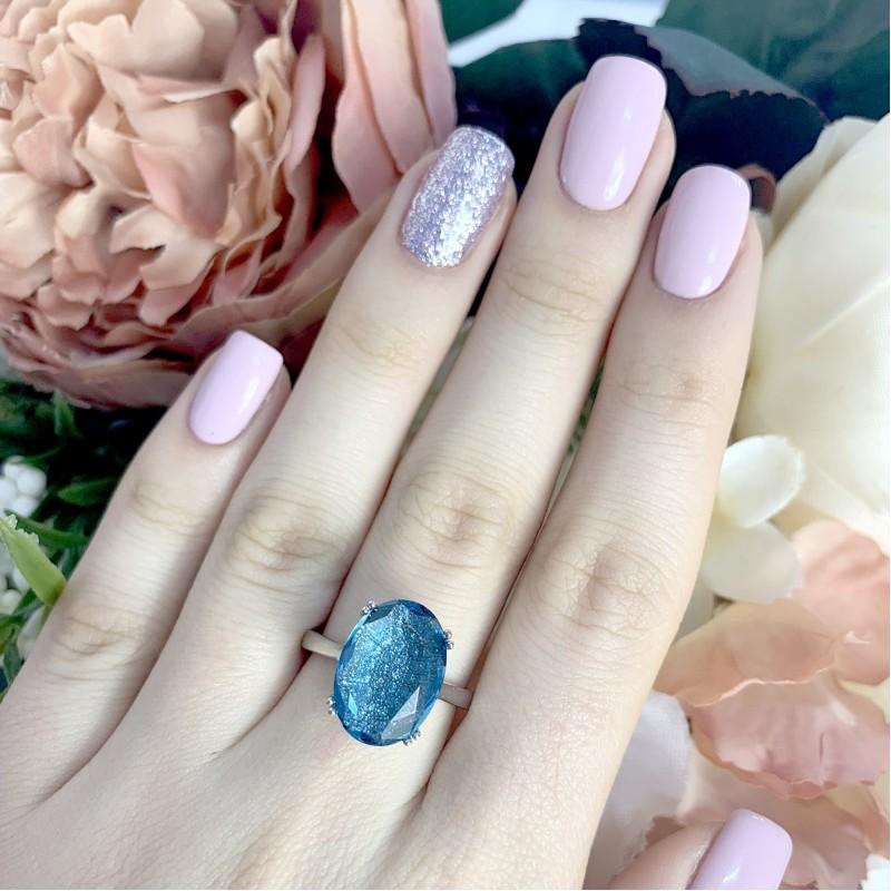 Серебряное кольцо SilverBreeze с топазом nano Лондон Блю (1975879) 17 размер
