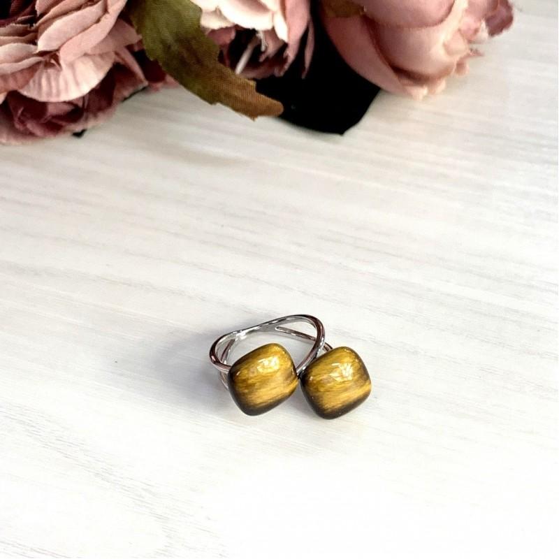 Серебряное кольцо SilverBreeze с тигровым глазом (1979006) 17 размер