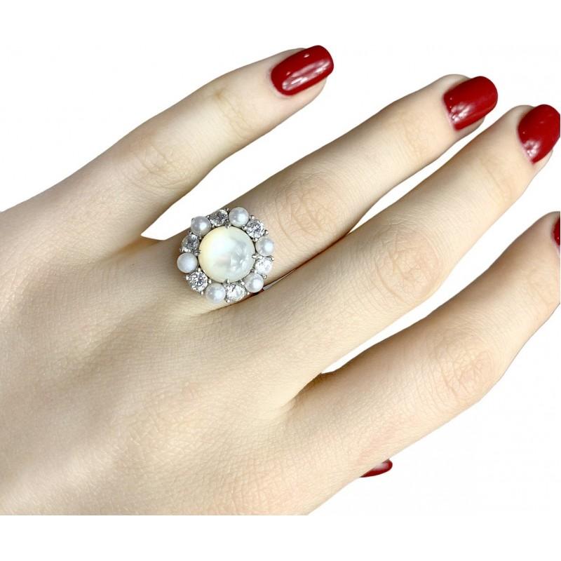 Серебряное кольцо SilverBreeze с натуральным перламутром,  (1980309) 16.5 размер
