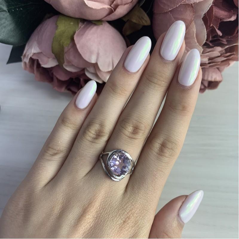 Серебряное кольцо SilverBreeze с натуральным аметистом (1983645) 18 размер