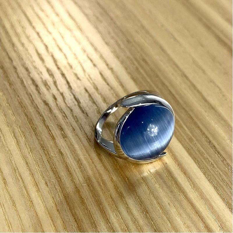 Серебряное кольцо SilverBreeze с кошачим глазом (1984550) 17.5 размер