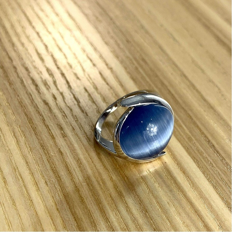 Серебряное кольцо SilverBreeze с кошачим глазом (1984550) 17 размер