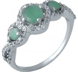 Серебряное кольцо SilverBreeze с натуральным изумрудом (1988442) 17.5 размер