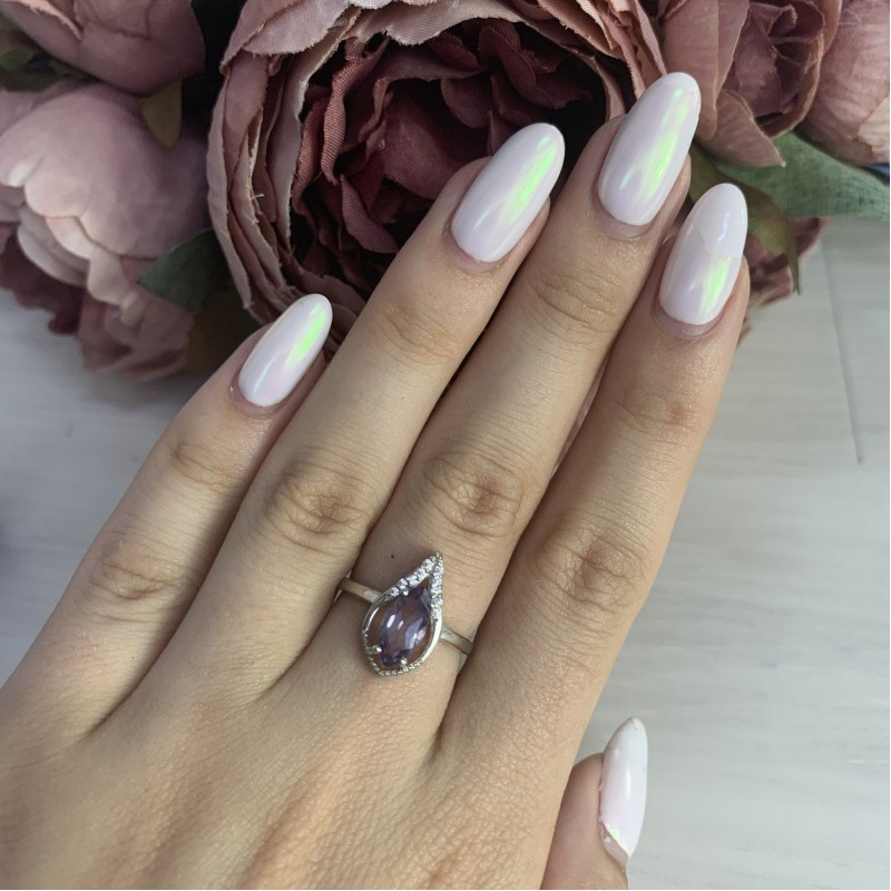 Серебряное кольцо SilverBreeze с олександритом (1988725) 17 размер