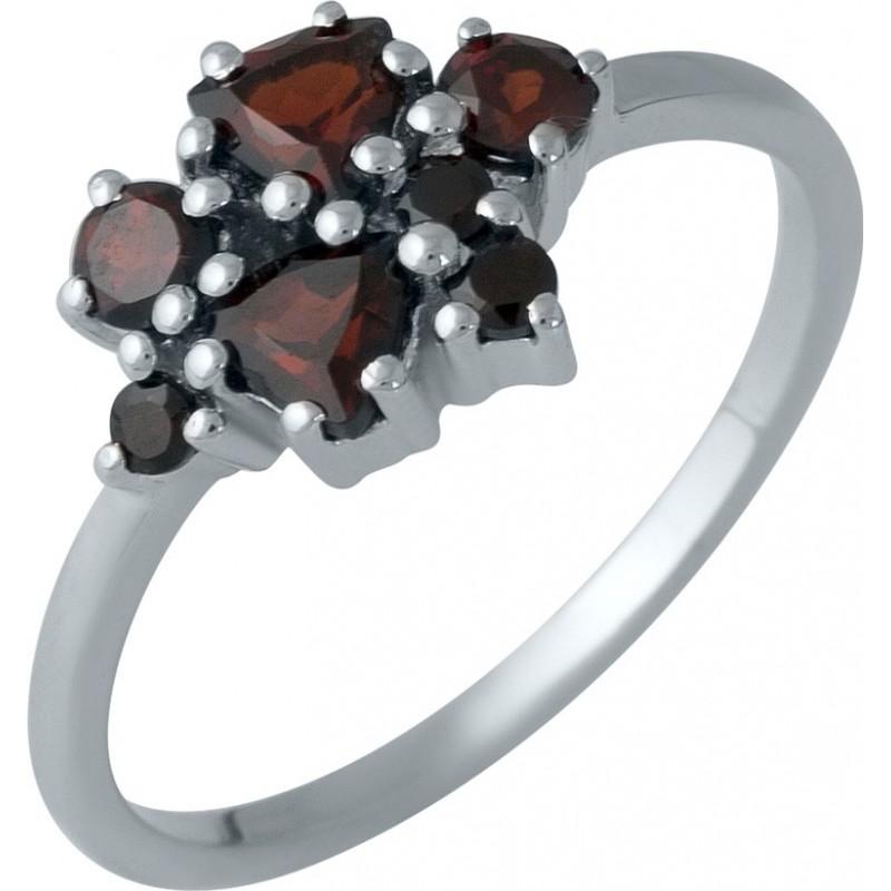 Серебряное кольцо SilverBreeze с натуральным гранатом (1989128) 18 размер