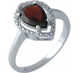 Серебряное кольцо SilverBreeze с натуральным гранатом (1995211) 17 размер